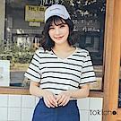 東京著衣 休閒甜心V領條紋上衣(共一色)