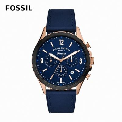 【FOSSIL】Forrester Chrono 生活探索石英計時男錶 海軍藍色真皮錶帶 46MM FS5814
