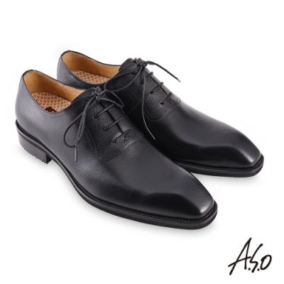 A.S.O 職場通勤勁步健康綁帶牛津紳士鞋-黑