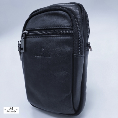 【Misstery】腰包進口牛皮男用手機腰包-黑(進口牛皮男仕腰包系列)