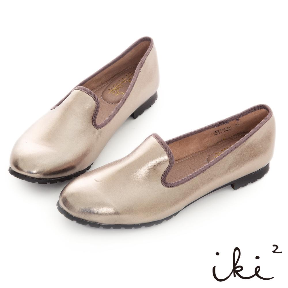 iki2極簡風尚 -質感羊紋舒適樂福鞋-黑銀