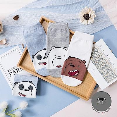 阿華有事嗎 韓國襪子 熊熊遇見你呆萌表情短襪  韓妞必備少女襪 正韓百搭純棉襪