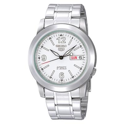 SEIKO 精工 盾牌五號時尚機械手錶SNKE57J1-白X銀/39mm