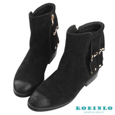 Robinlo 波米西亞風進口真皮流蘇短靴 黑色