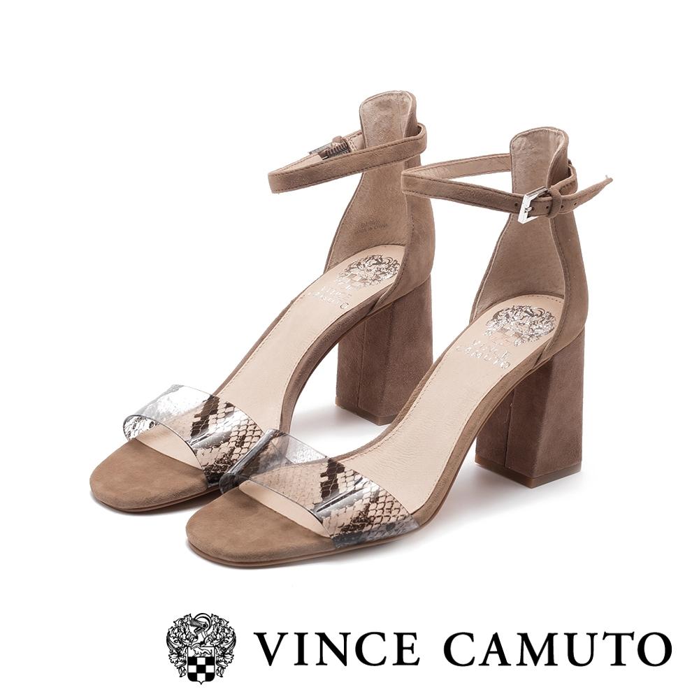 VINCE CAMUTO-WINDERLY真皮動物紋一字繫踝帶粗高跟涼鞋-絨灰色