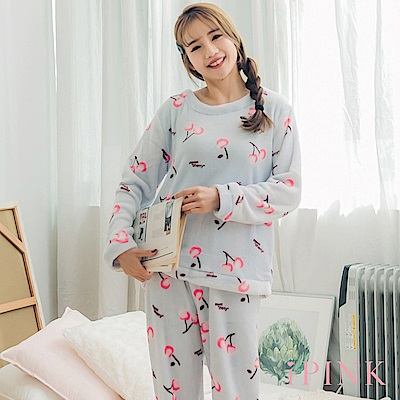 i PINK 冬日樂園 法蘭絨圓領居家服睡衣套裝(藍櫻桃)