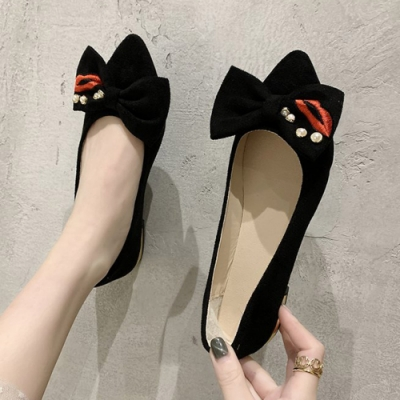 KEITH-WILL時尚鞋館 甜心清新甜美可愛塗鴉尖頭鞋-黑