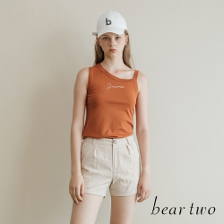 beartwo- 細直條清新好感仿棉麻短褲-兩色