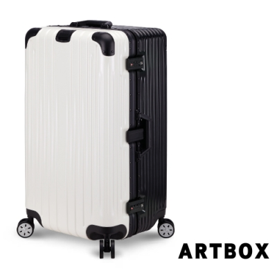 ARTBOX愛戀迷情29吋創新線條胖胖運動款鋁框行李箱黑X白