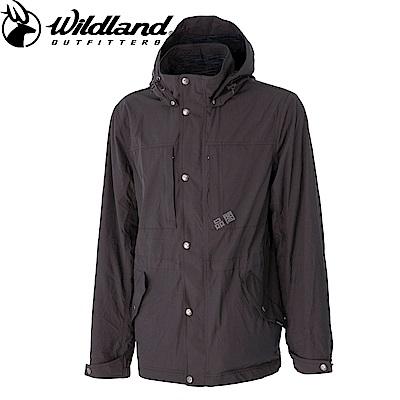 【Wildland 荒野】男Pile裡防風保暖時尚外套灰
