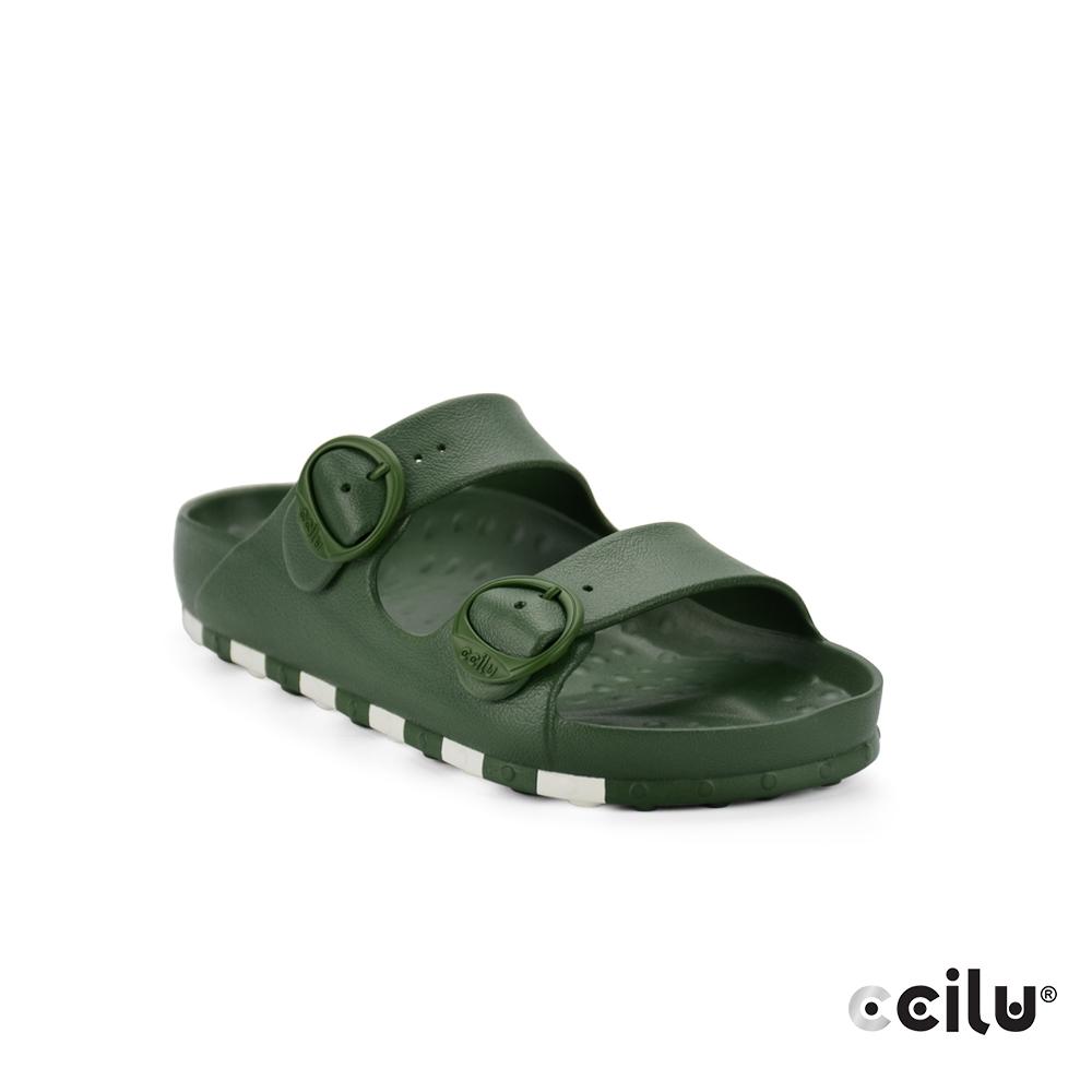 CCILU 經典雙帶防水拖鞋-男款-301264049軍綠色