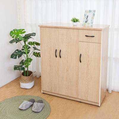 Bernice-防潮防蛀塑鋼3.2尺三門一抽鞋櫃(兩色可選)-97x43x112cm