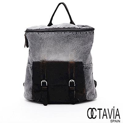 OCTAVIA8 - 磨石磨 仿舊復刻U型開口帆布配皮後背包 - 灰
