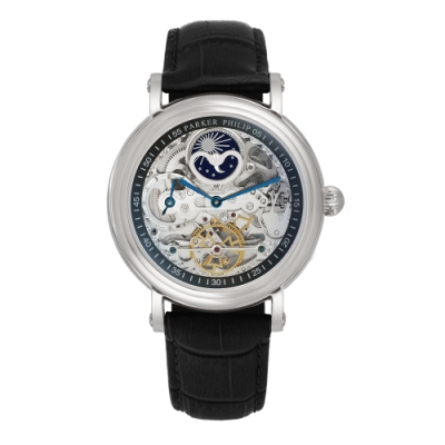 PARKER PHILIP派克菲利浦雙發條盒日月相兩地時區鏤空擺輪限量機械腕錶(銀殻/黑帶)