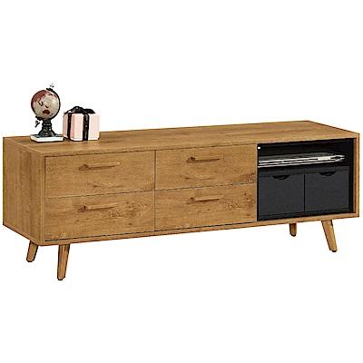 文創集 范斯時尚5尺實木電視櫃/視聽櫃-148x40x50.8cm免組
