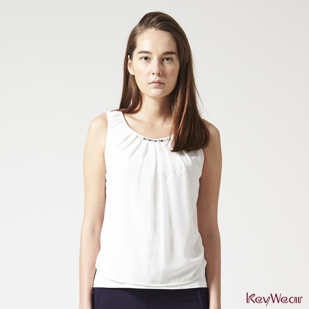 KeyWear奇威名品     100%純棉時尚無袖背心-白色