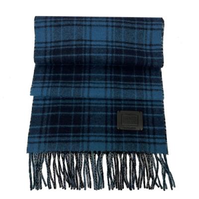 COACH 皮牌格紋羊毛混喀什米爾圍巾(藍黑格紋)