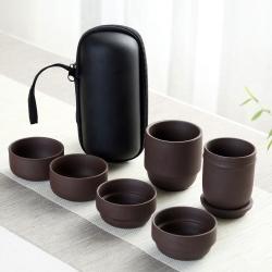 EZlife 戶外旅行便攜茶具8件組-紫砂款