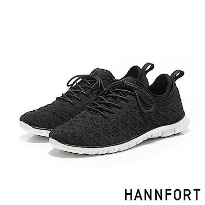 HANNFORT ZERO GRAVITY編織菱格紋氣墊運動鞋-女-石墨黑