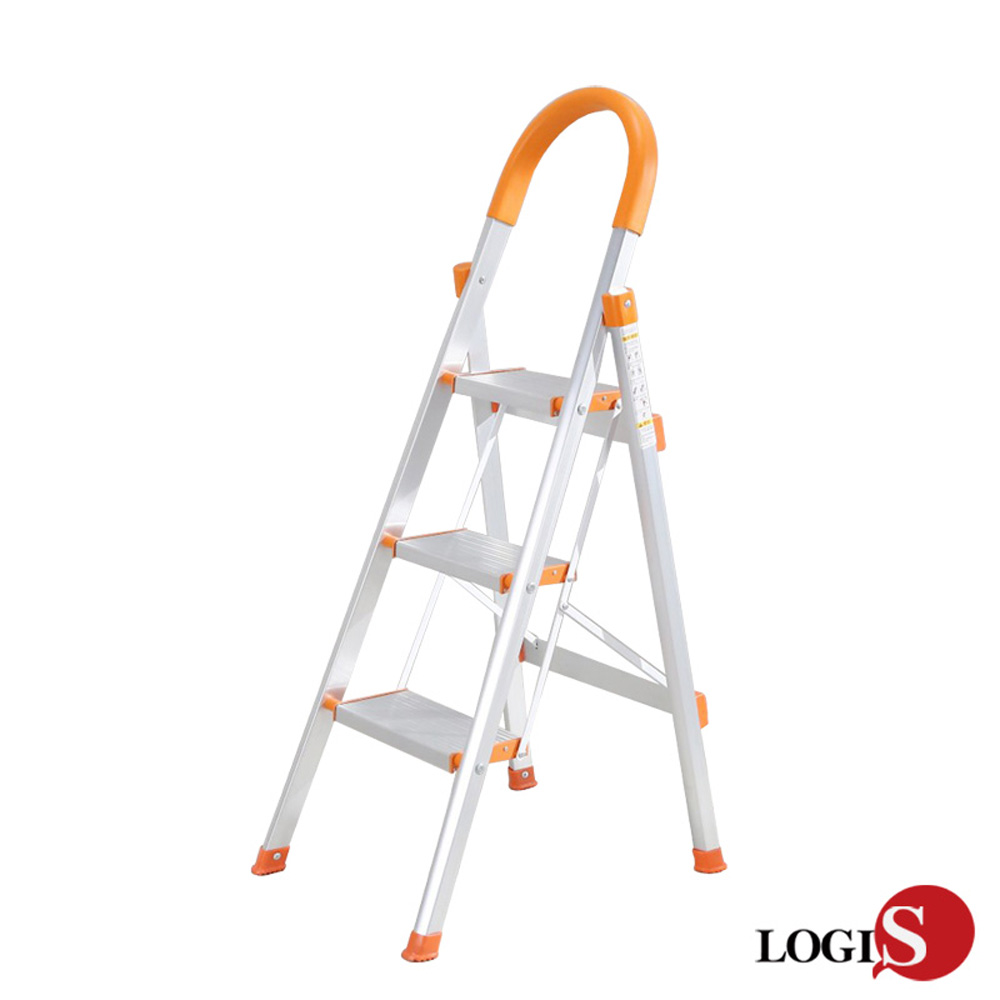 LOGIS 家用摺疊梯/三層梯/鋁製扶手梯/防滑梯/工作梯