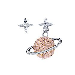 apm MONACO法國精品珠寶 閃耀銀色粉星球不對稱耳針式耳環