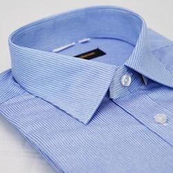 金‧安德森 藍色條紋窄版長袖襯衫