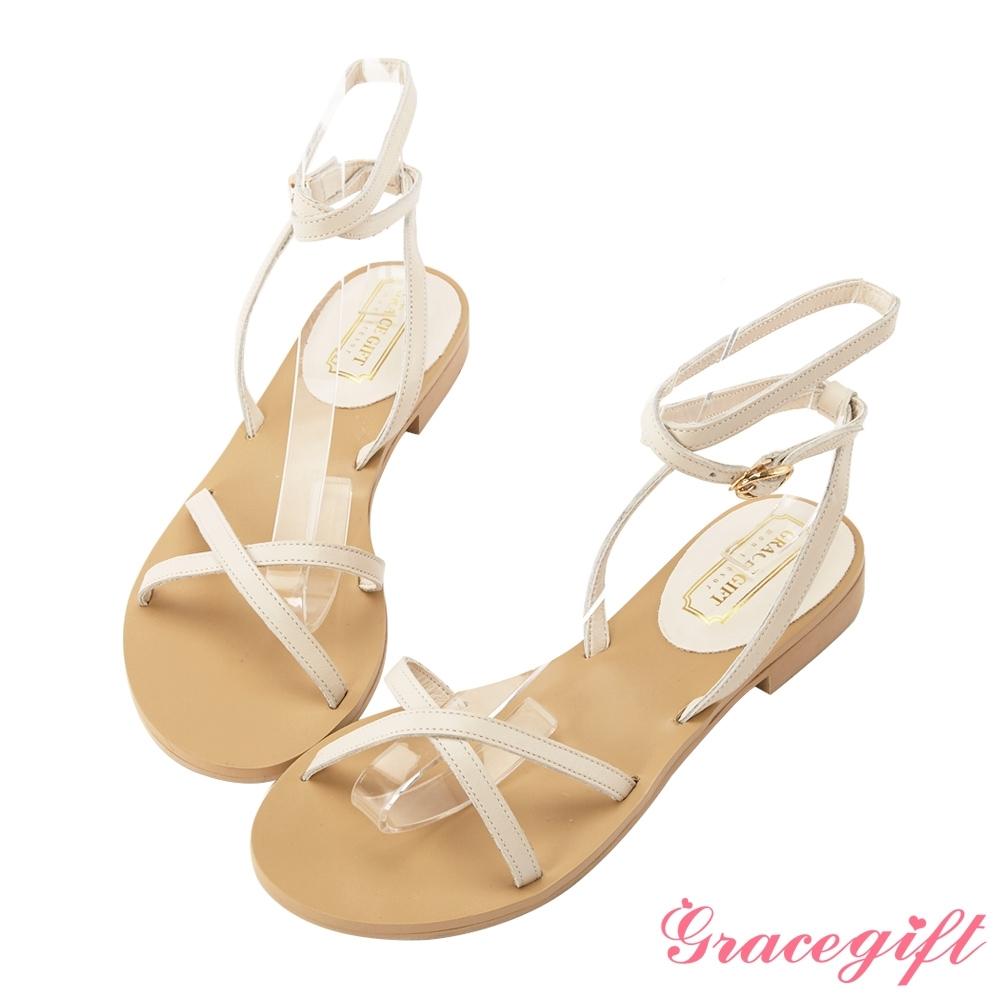 Grace gift-真皮交叉繞踝細帶涼鞋 米白