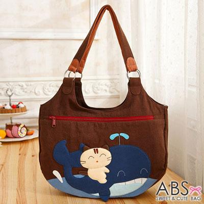 ABS貝斯貓 微笑貓咪騎鯨拼布包 手提包 肩提包(咖啡)88-172