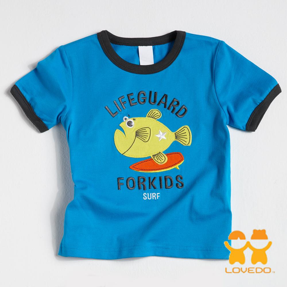 【LOVEDO-艾唯多童裝】優游大海 拼布短袖T恤 (藍)
