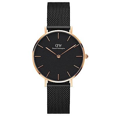 DW手錶 官方旗艦店 32mm玫瑰金框 Classic Petite 寂靜黑米蘭金屬帶手錶