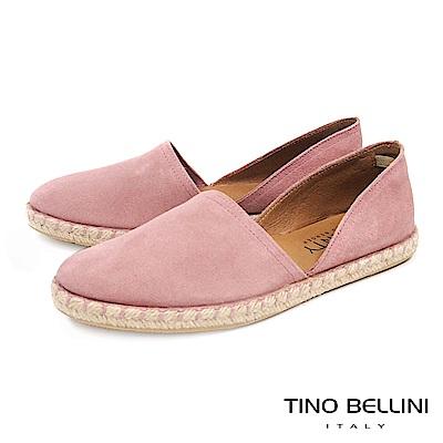 Tino Bellini 西班牙進口側鏤空平底麻編休閒鞋 _ 粉