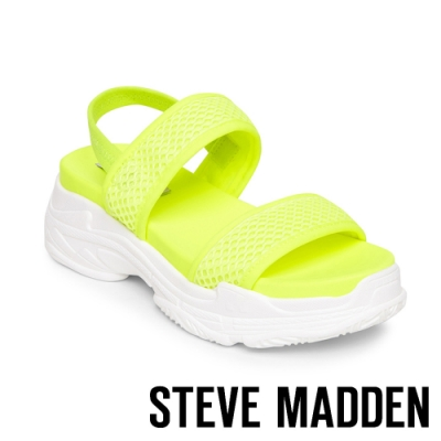 STEVE MADDEN-SUBLIME 輕鬆街頭布面寬帶厚底涼鞋-螢光黃