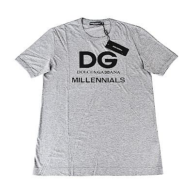 D&G經典印花LOGO棉質短袖T恤(灰)
