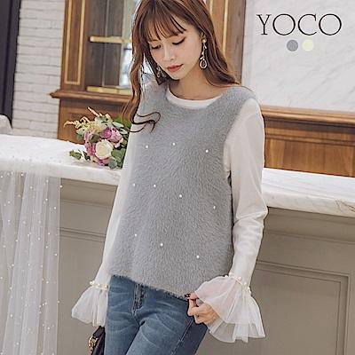 東京著衣-yoco 微糖甜心釘珠暖暖針織背心(共二色)