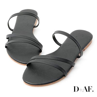 D+AF 粉彩浪漫.一字斜帶平底涼拖鞋*黑
