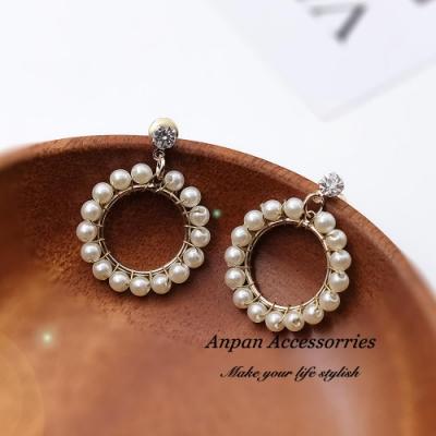 【Anpan 愛扮】韓東大門氣質圓形鑲鑽珍珠925銀針耳釘式耳環