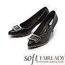Fair Lady Soft芯太軟 優雅方框素色尖頭跟鞋 黑