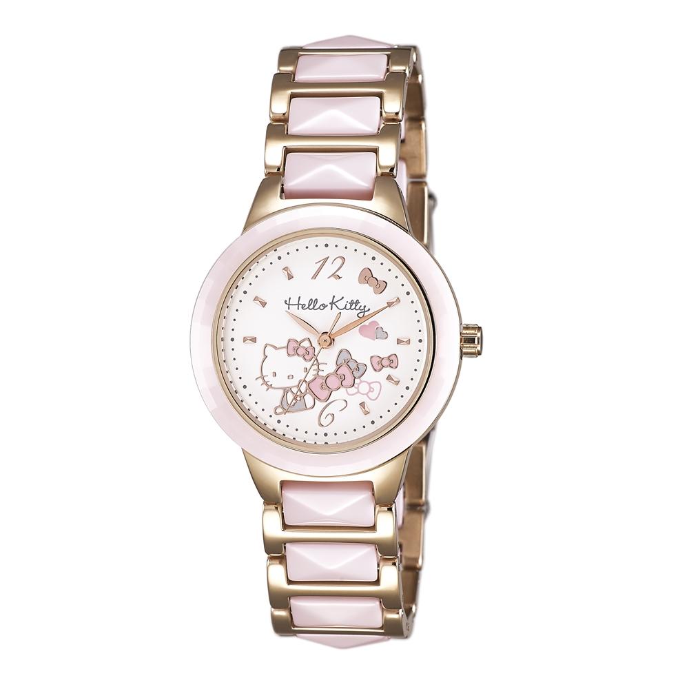 HELLO KITTY 凱蒂貓 甜美簡約陶瓷手錶-白x粉玫瑰金/32mm