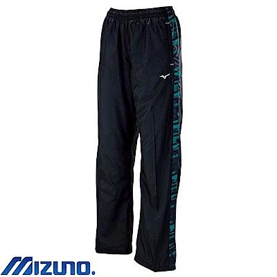 MIZUNO 美津濃 女風衣套裝褲子 黑X藍綠紋 32TF778293