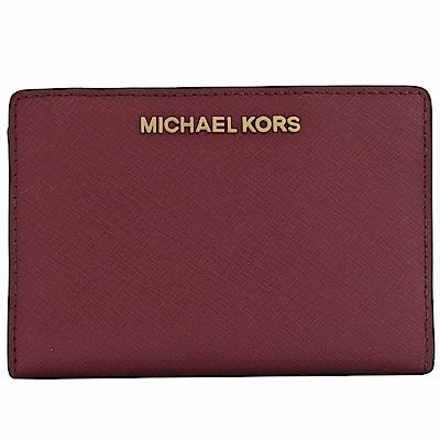MICHAEL KORS JET SET對開扣式零錢短夾(深紫紅)