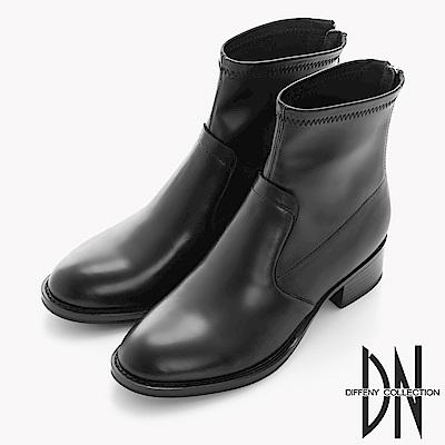 DN 英式經典 彈性布拼接牛皮後拉鍊中短靴-黑