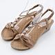 River&Moon大尺碼女鞋 一字皮質朵結鑽扣楔型涼鞋 棕 product thumbnail 1