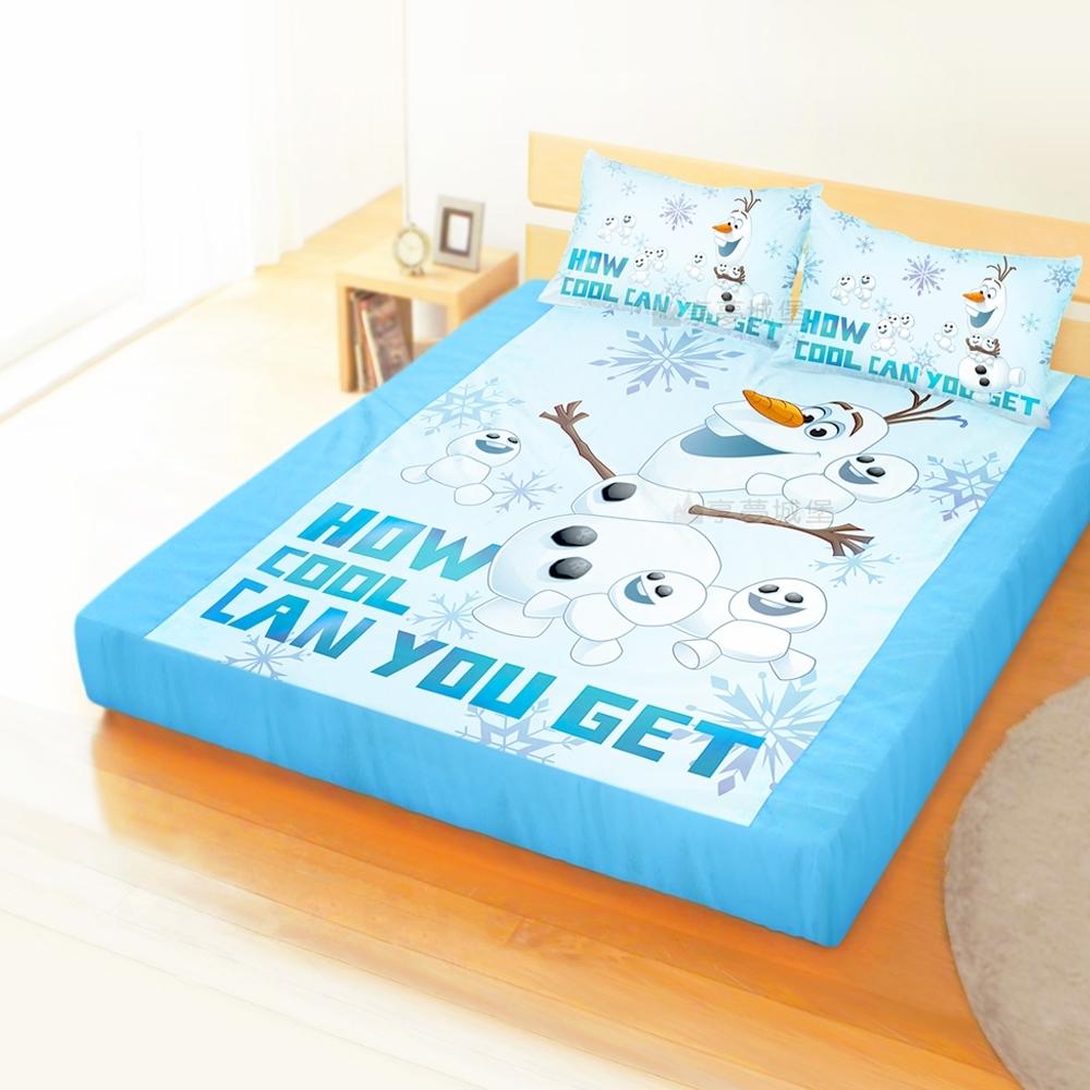 享夢城堡 雙人加大床包枕套6x6.2三件組-冰雪奇緣FROZEN迪士尼 雪寶與小雪人-藍