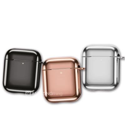 AT【SOLID】金屬電鍍 Airpods 藍牙耳機保護套 1/2代適用 附掛勾