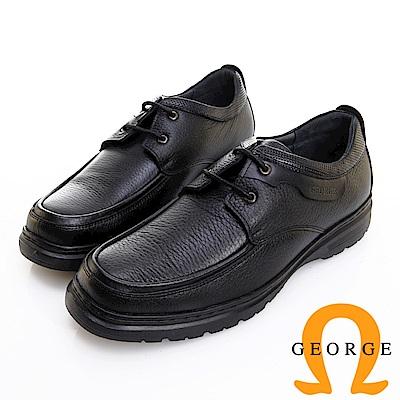 GEORGE 喬治皮鞋 舒適系列 荔枝紋厚底繫帶休閒鞋 -黑