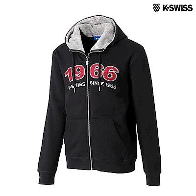 K-Swiss Fake Fur Hoodie Jkt休閒連帽外套-男-黑