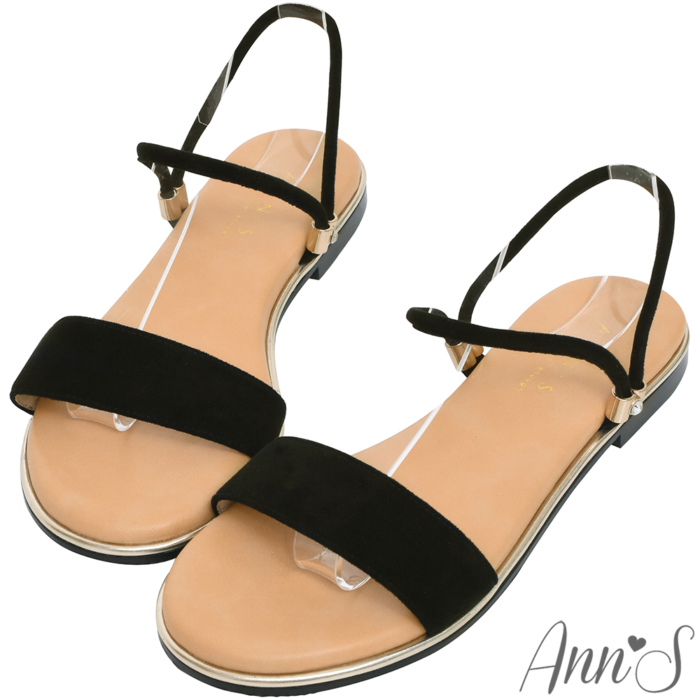 Ann'S放鬆機會-絨質小鑽扣可兩穿寬版平底涼鞋-黑