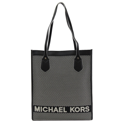MICHAEL KORS BAY 織布LOGO帆布直式購物包(黑)