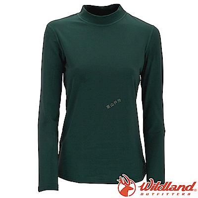 Wildland 荒野 W2651-02深綠 女遠紅外線保暖中領衛生衣