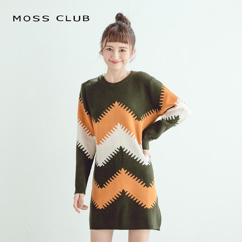 【MOSS CLUB】森林系長版-針織衫(芥黃色)